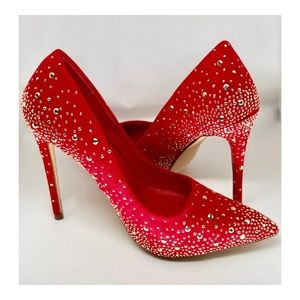 Lilian Red Studded Pumps